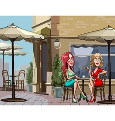 Cartoon women sitting at a table in a cafe vector