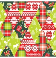 Christmas and New Year patchwork seamless vector image