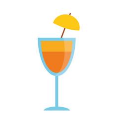 Cocktail cup umbrella drink vector