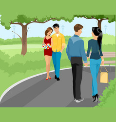 couples walking at park vector image vector image