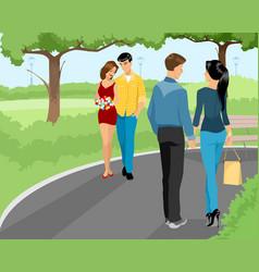 couples walking at park vector image