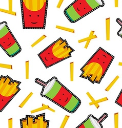 Fast food stitch patch icons seamless pattern vector