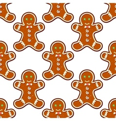 Ginger cookies seamless pattern background vector image