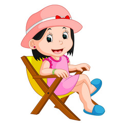 Girl sitting on chair vector
