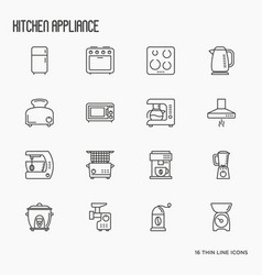 kitchen appliances thin line icons vector image