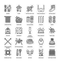 Knit crochet hand made line icons set knitting vector
