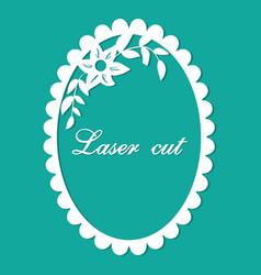 laser cut flower ornament blue vector image