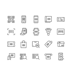 Line qr code icons vector