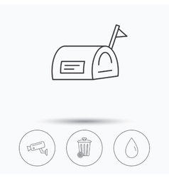 Mailbox video monitoring and water drop icons vector image
