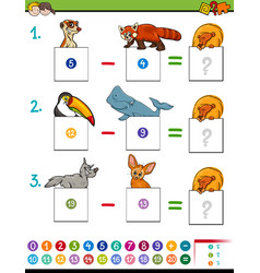 Maths subtraction game with cute animals vector