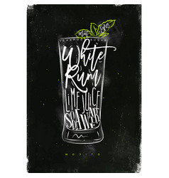 Mojito cocktail chalk color vector