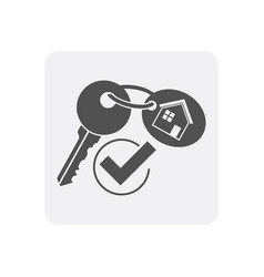 Quality control at home icon with key sign vector