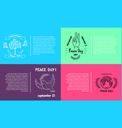 Set of bright posters for international peace day vector