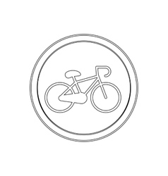silhouette circular shape with bicycle icon flat vector image