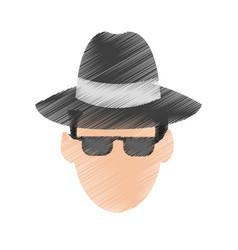 Suspicious looking man criminal icon image vector