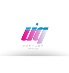 uq u q alphabet letter combination pink blue bold vector image