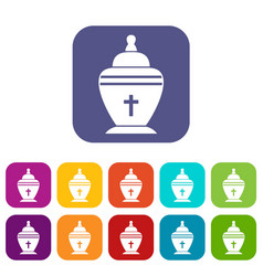 Urn icons set vector