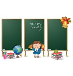 Vertical banners school board and school girl vector image