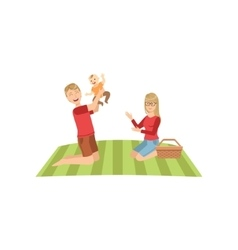 Young parents with baby on picnic vector