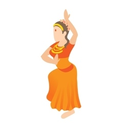 Indian girl dancing icon cartoon style vector