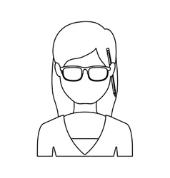 Silhouette half body woman with glasses and jacket vector