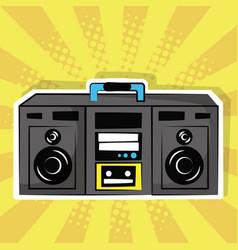 stereo radio music pop art vintage vector image