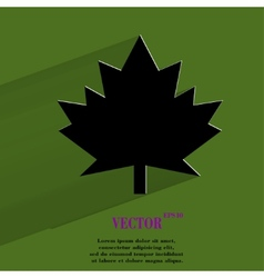 Maple leaf flat modern web button with long shadow vector