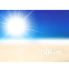 Blurry beach and blue sky with summer sun vector