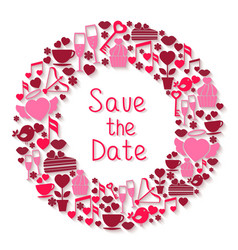 Save the Date romantic circular symbol vector image
