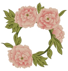 Background with peonies with frame vector image