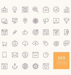 Seo outline icons for web and mobile apps vector
