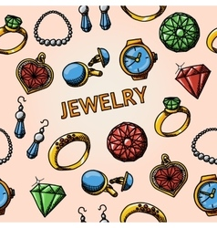 Seamless jewelry handdrawn pattern with- rings vector