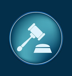 Gavel icon law symbol of justice and judgment vector