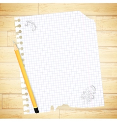 Notebook sheet with drawing and pencil vector