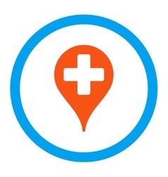 Medical map marker rounded icon vector