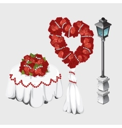 Wedding table lamp and bouquets of roses vector