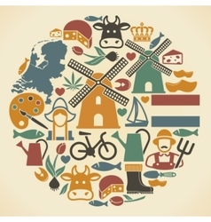 Netherlands symbols in the shape of a circle vector image