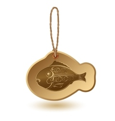 Fish shaped tag with handwritten word seafood vector