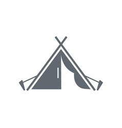Stylized icon of tourist tent black vector