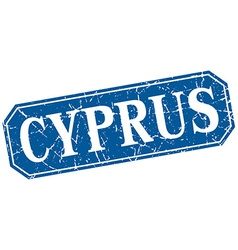 Cyprus blue square grunge retro style sign vector
