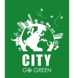 Eco design city icon flat vector