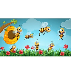 Bees flying out of beehive in the garden vector