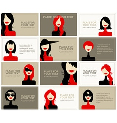 Business cards with woman faces for your design vector