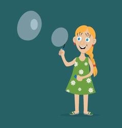 Girl blow bubbles vector