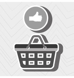 Red basket and hand isolated icon design vector