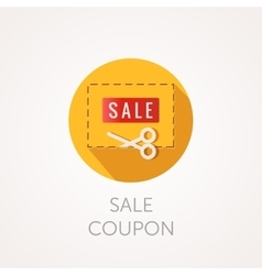 Discount coupon icon scissors and frame flat vector