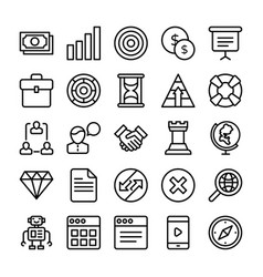 Business and office line icons 2 vector