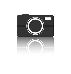 Camera icon with reflection effect on white vector