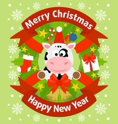 christmas and new year background card with cow vector image