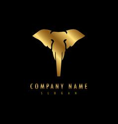 elephant logo black background vector image